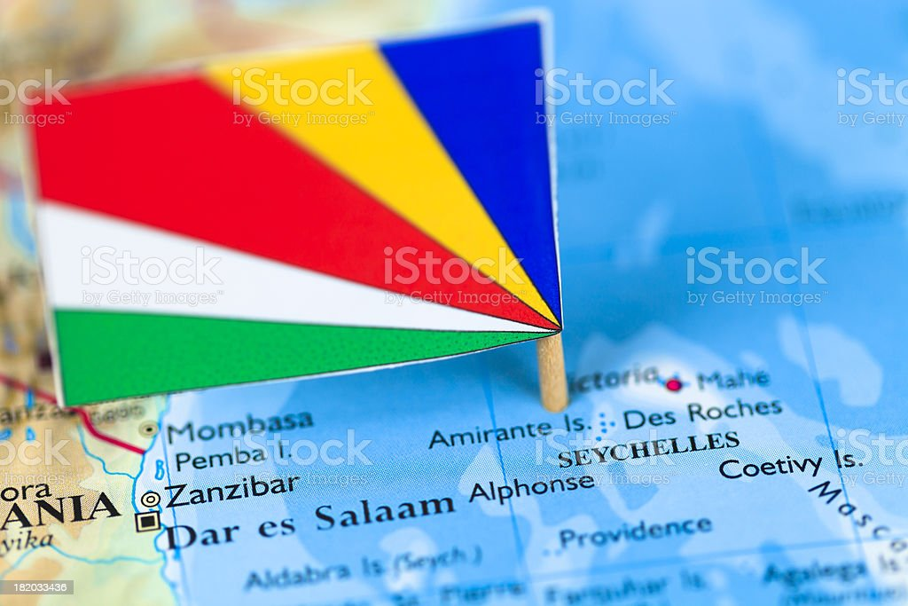 Map and flag of Seychelles stock photo