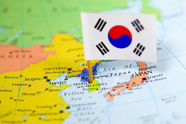 マップ、韓国の国旗 - 韓国 ストックフォトと画像