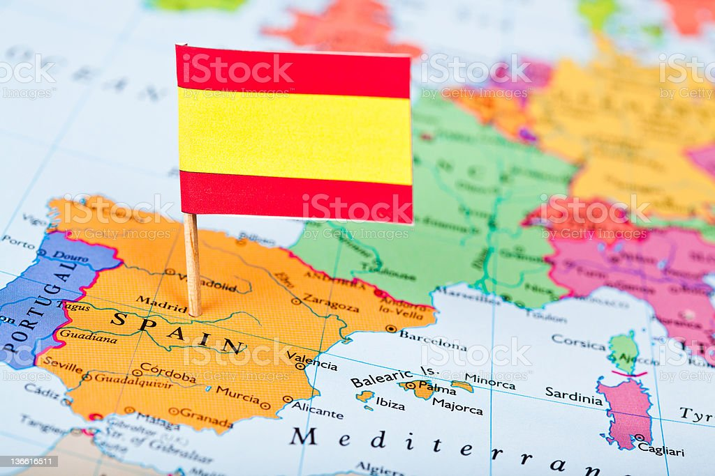 Map and Flag of Spain royalty-free stock photo