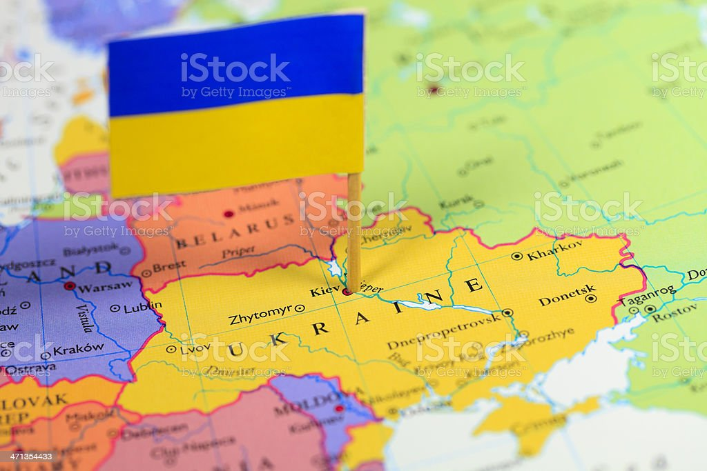Map and flag of Ukraine stock photo