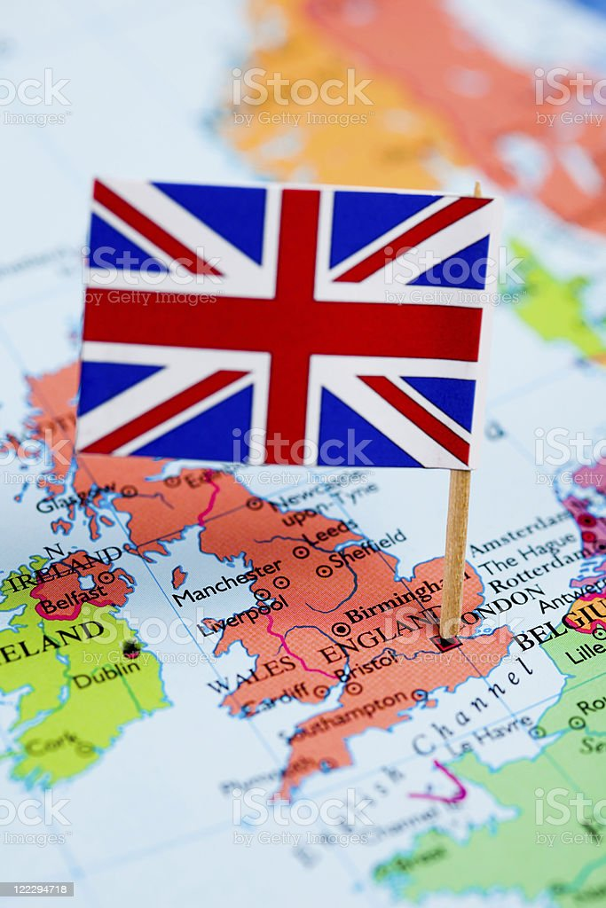 Map and flag of United Kingdom royalty-free stock photo