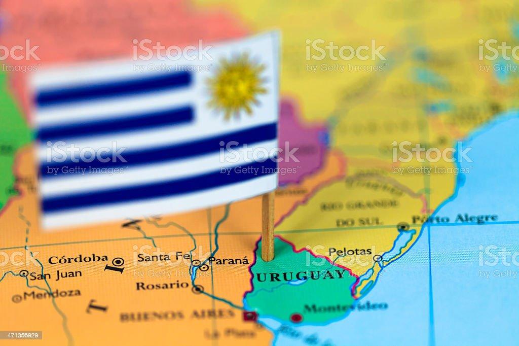 Mapa y bandera de Uruguay - foto de stock