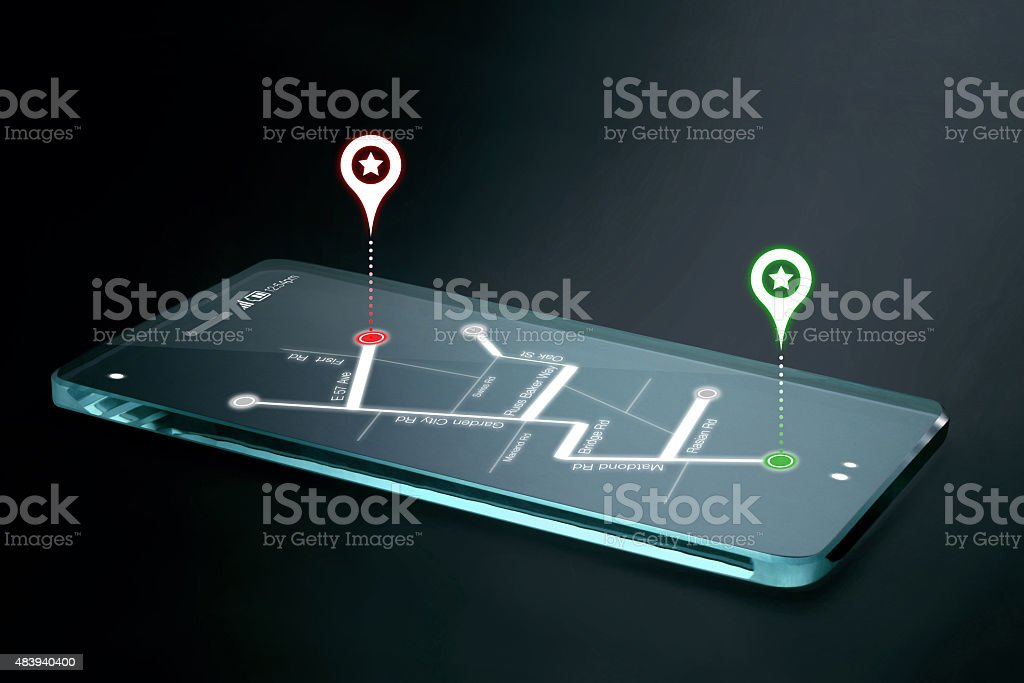 Map and navigation icons on transparent smartphone screen stock photo