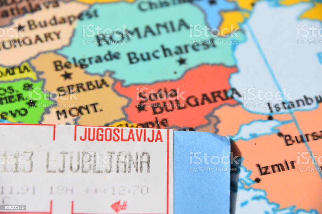 Map And Stamps Of Yugoslavia Stock Photo More Pictures Of