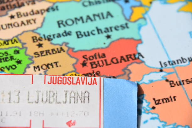 Map and stamps of Yugoslavia stock photo