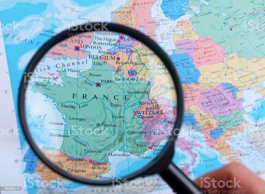 Map and Zoom Lens, France royalty-free stock photo