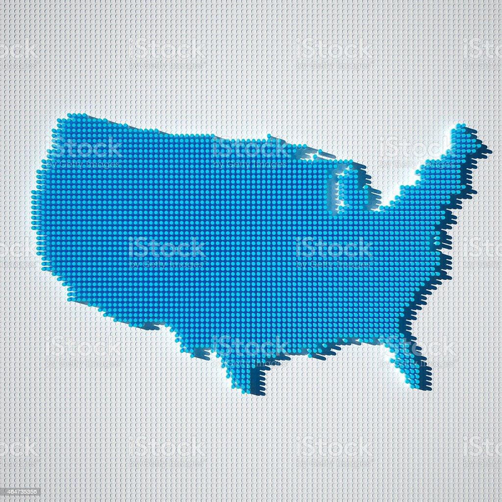 USA Map Blue Dot Pattern 3D stock photo