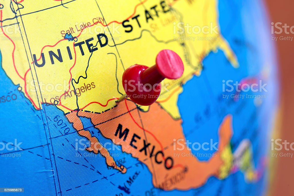Map boundaries USA and Mexico stock photo
