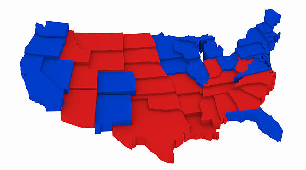 usa map by state presidential elections 2012. 3d rendering illustration - wahlen in usa stock-fotos und bilder