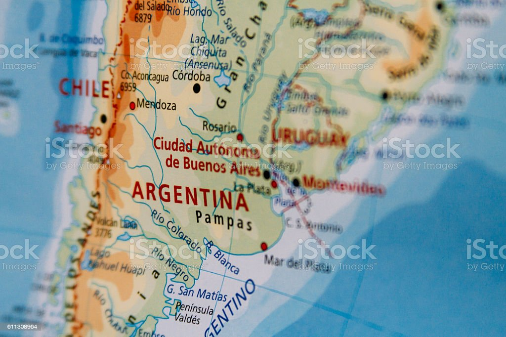 Map closeup macro in Argentina - foto de stock