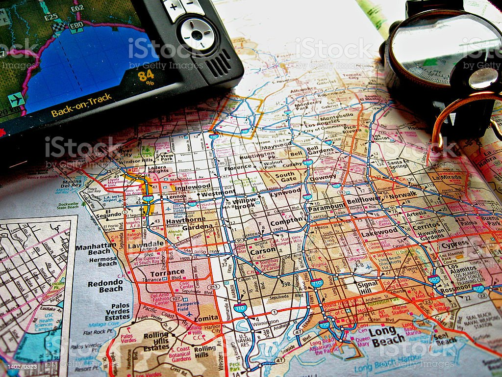 Map, compass and GPS royalty-free stock photo