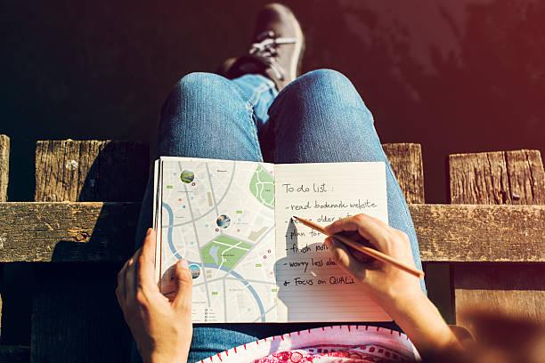 Mapa de direção de viagem Wanderlust Explorar Route conceito - foto de acervo