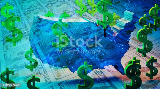 istock 3D USA Map, Dollar Currency and Symbol 1135869423