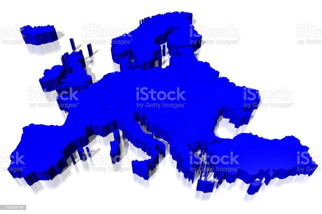 3D map - Europe stock photo