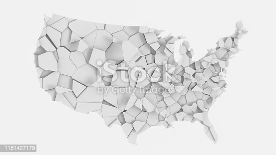 1056103150istockphoto 3D US map fractured into random pieces 1151427179