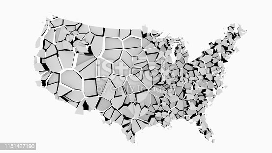 1056103150istockphoto 3D US map fractured into random pieces 1151427190