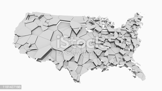 1056103150istockphoto 3D US map fractured into random pieces 1151427193