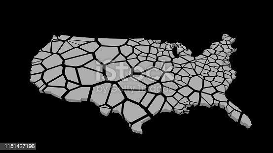 1056103150istockphoto 3D US map fractured into random pieces 1151427196