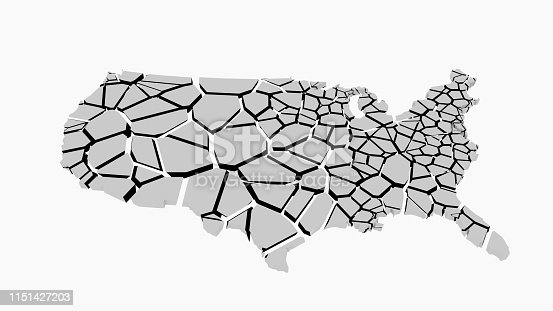1056103150istockphoto 3D US map fractured into random pieces 1151427203