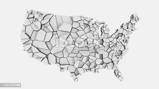 1056103150istockphoto 3D US map fractured into random pieces 1151427208