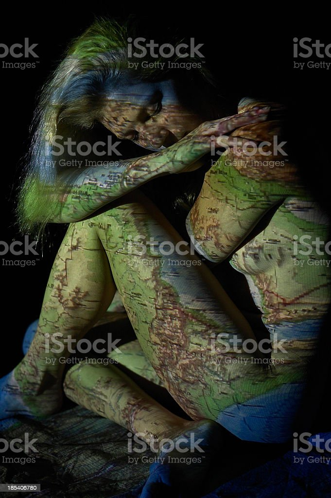 map girl, illustrated women royalty-free stock photo