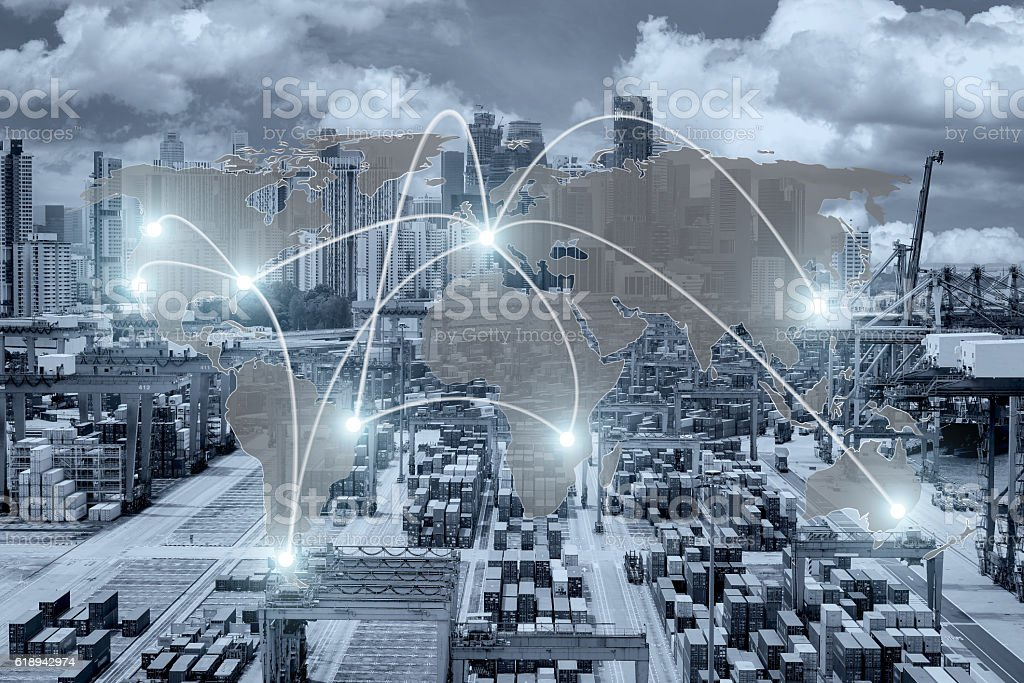Map global logistics partnership connection of Container Cargo stock photo