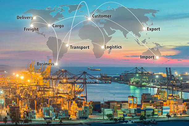 map global logistics partnership connection of container cargo - transportation icons stock photos and pictures