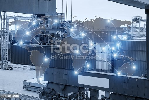 638310484 istock photo Map global logistics partnership connection of Container Cargo freight ship 641356588