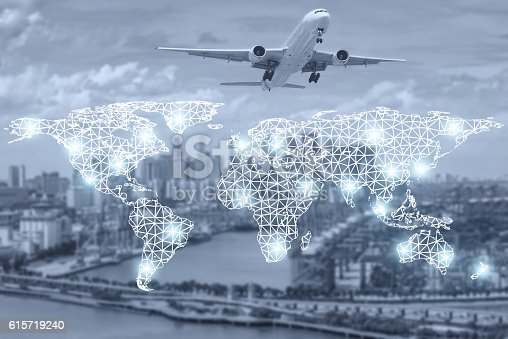 istock Map global partner connection of cargo container for logistics 615719240