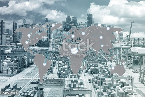 544976664 istock photo Map global partner connection of Container Cargo freight ship 542705000