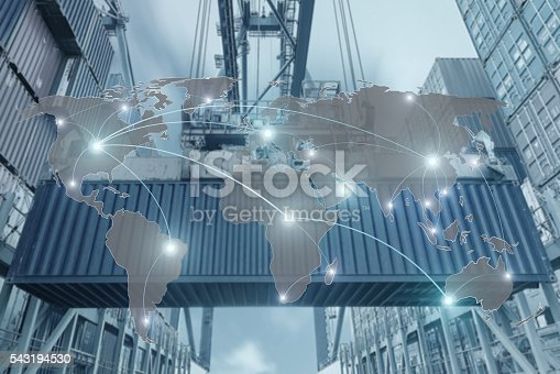 544976664 istock photo Map global partner connection of Container Cargo freight ship 543194530