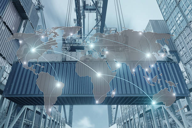 Map global partner connection of Container Cargo freight ship - foto stock