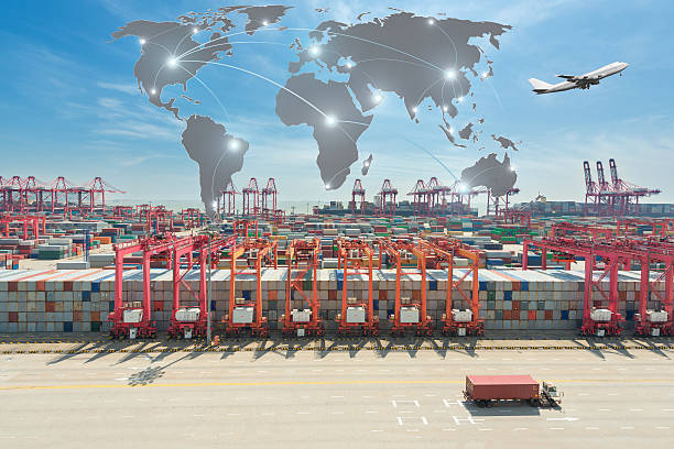 Map global partner connection of Container Cargo freight ship - foto de stock