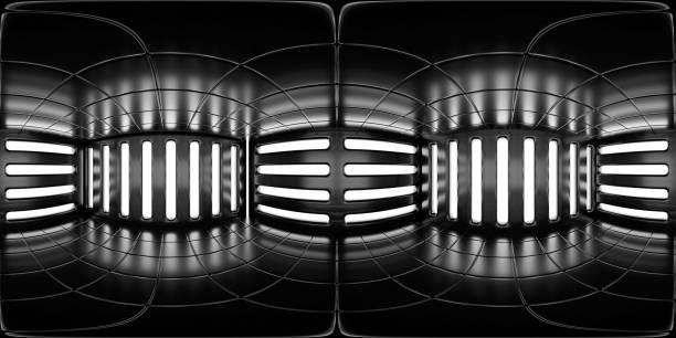 8K HDRI Karte, kontrastreiche kugelförmige Umgebungspanorama-Hintergrund, Innenlichtquelle Rendering (3d ächdeutige Illustration) – Foto