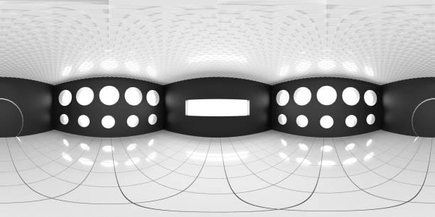 8K HDRI Karte, kontrastreiche kugelförmige Umgebungspanorama-Hintergrund, moderne Innenbeleuchtung Rendering (3d ächdeutige Illustration) – Foto