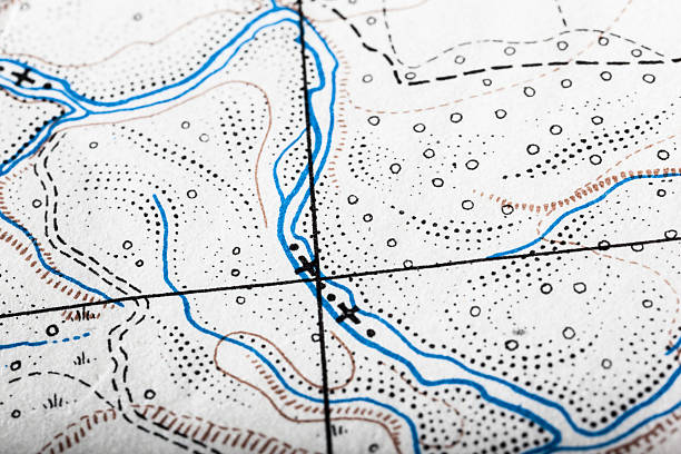 map illustration showing possible route in blue - topography stock photos and pictures