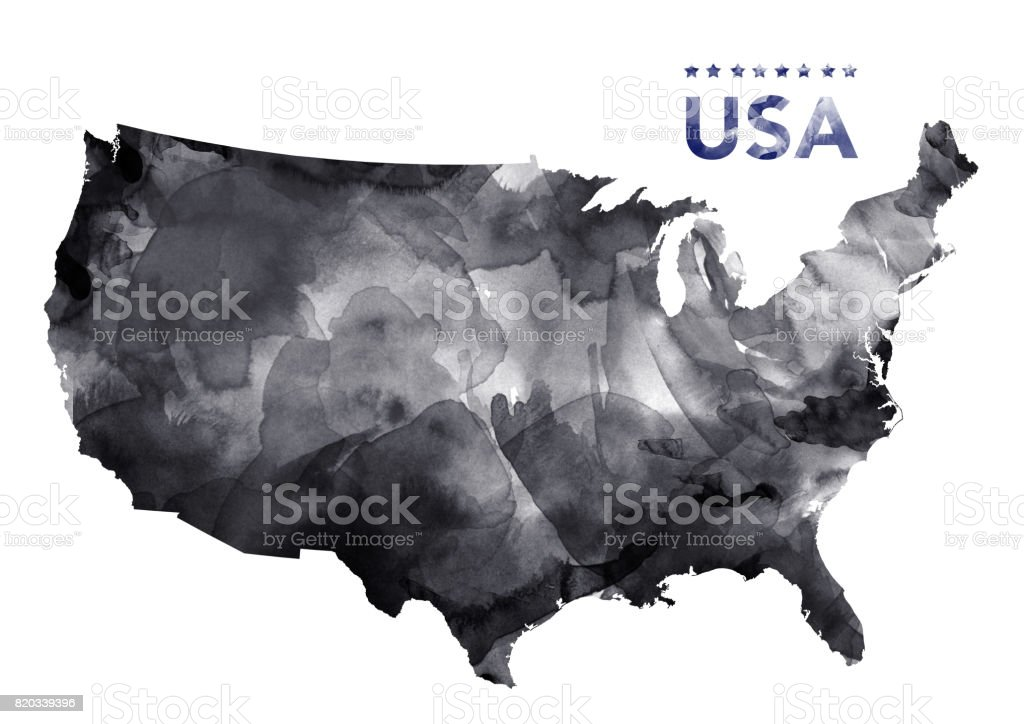 USA Map in digital ink paint stock photo