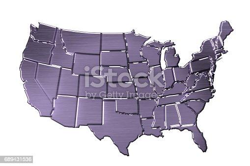 186827106istockphoto USA map in platinum metal color. 3D rendering 689431536
