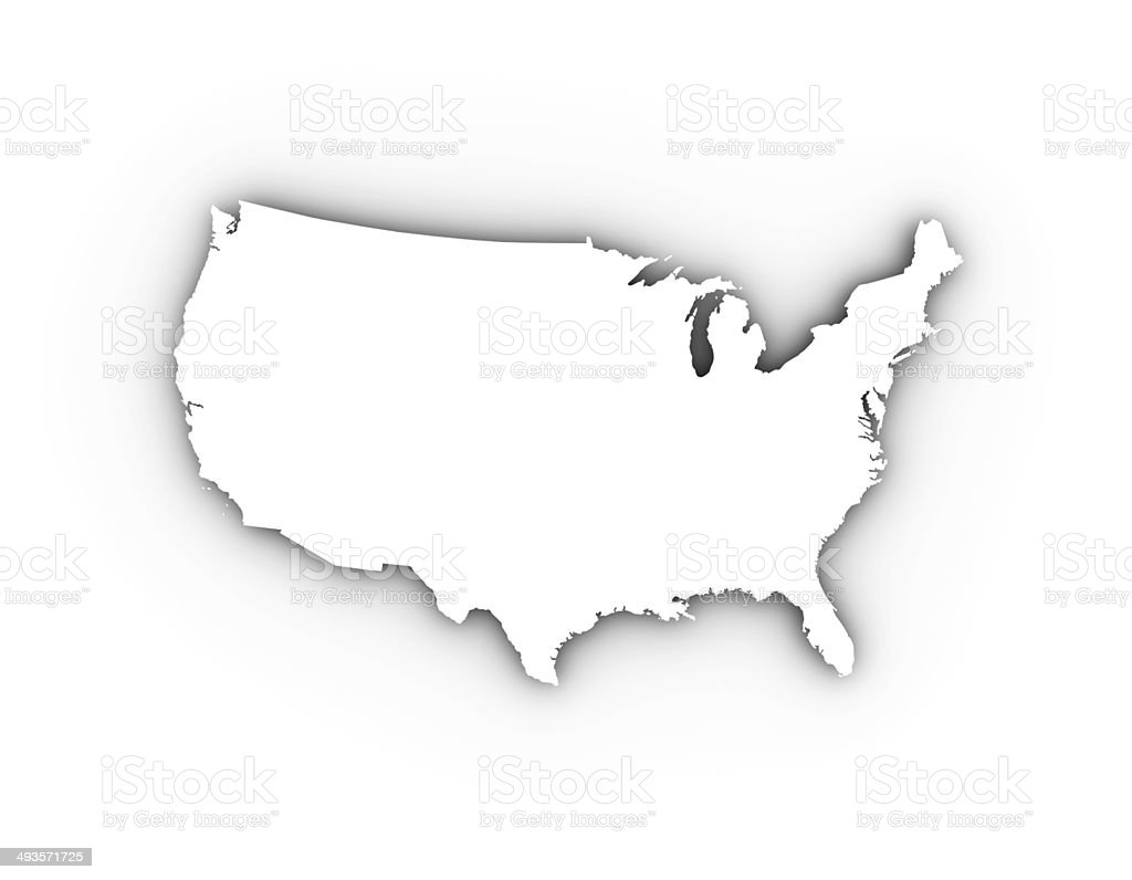 USA map in white including a clipping path. stock photo