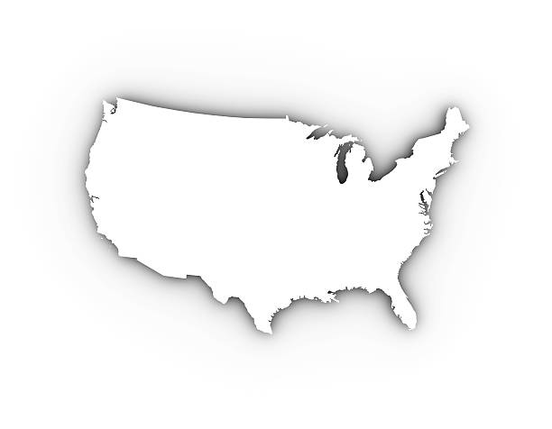 usa map in white including a clipping path. - 外型 個照片及圖片檔