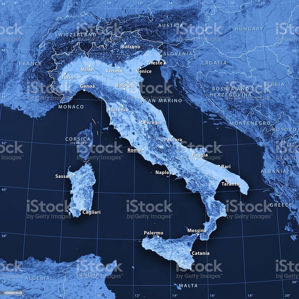 Map Italy (english version) stock photo