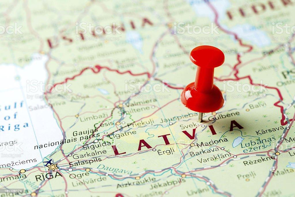 Map Latvia stock photo