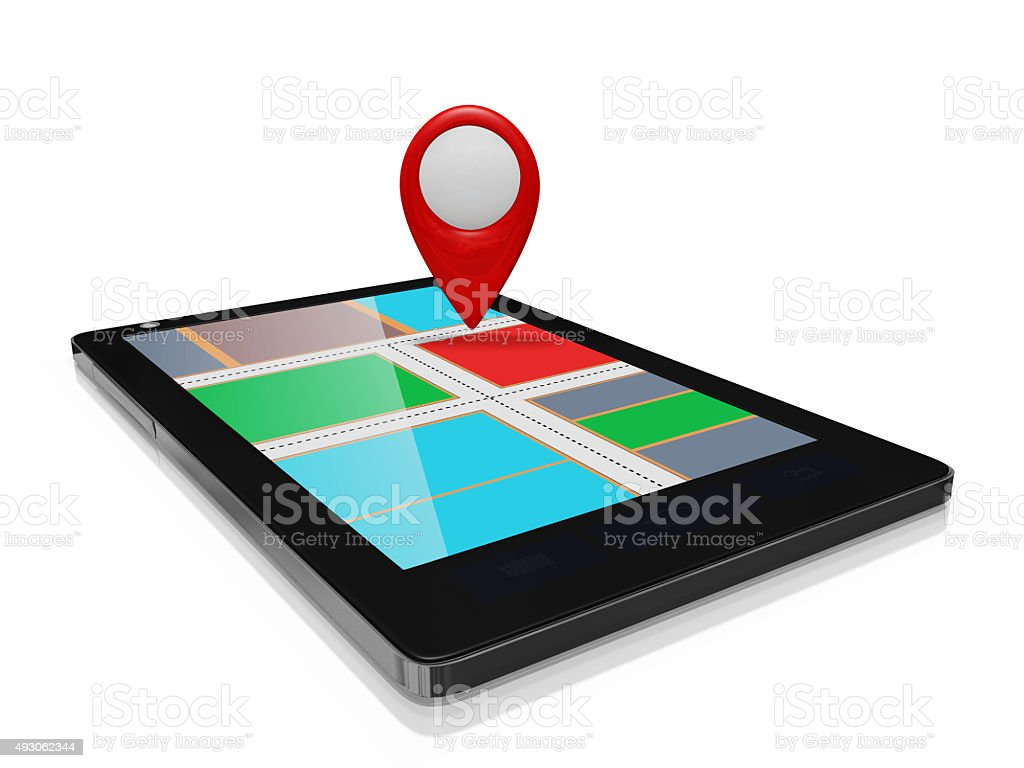 GPS Map Marker on a Smart phone Mobile stock photo