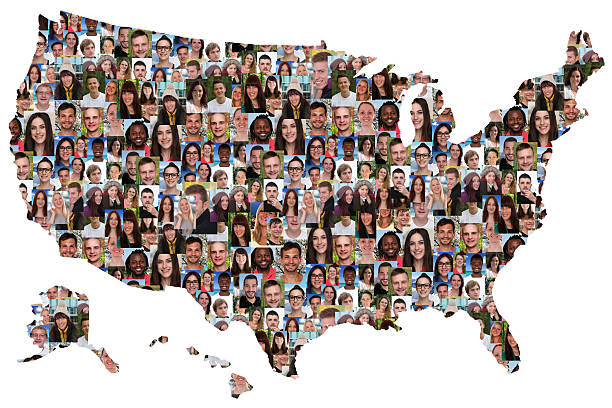 USA map multicultural group of young people integration​​​ foto