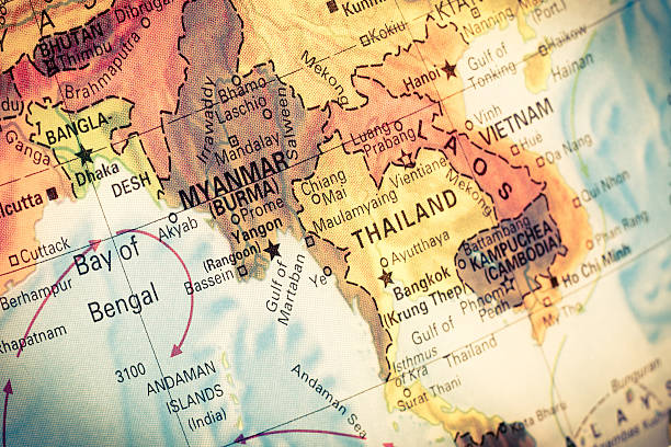 Map Myanmar and Burma, Vintage Map Myanmar,Burma,  Close-up macro image of South East Asia  map . Selective focus southeast asia stock pictures, royalty-free photos & images