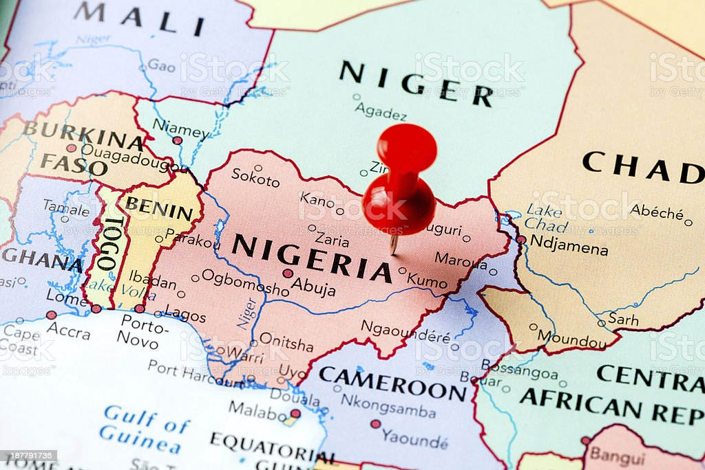 Map Nigeria stock photo