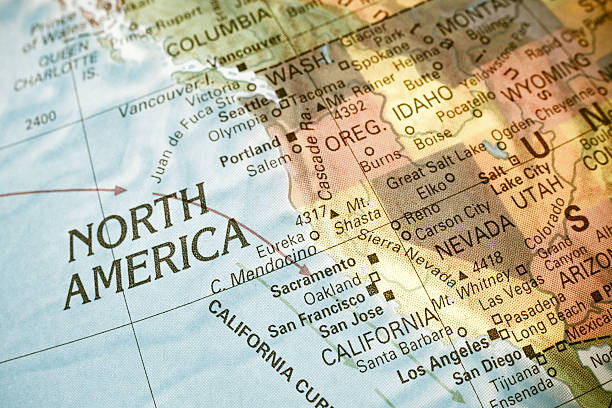 Map North West USA. Close-up image Map North West USA .  Close-up macro image of  map North West America. Selective focus western usa stock pictures, royalty-free photos & images
