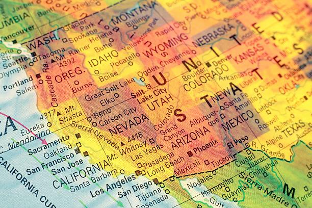 Carte du nord-ouest des États-Unis. Gros plan image - Photo