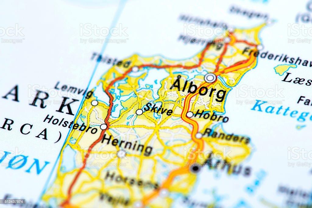 Map of Aalborg, Denmark stock photo
