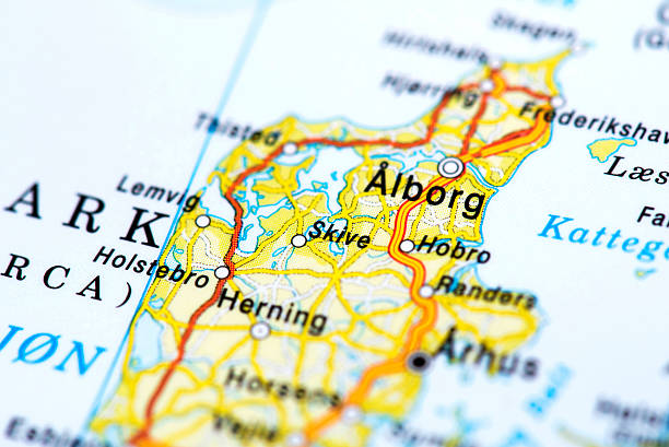 Map of Aalborg, Denmark stock photo